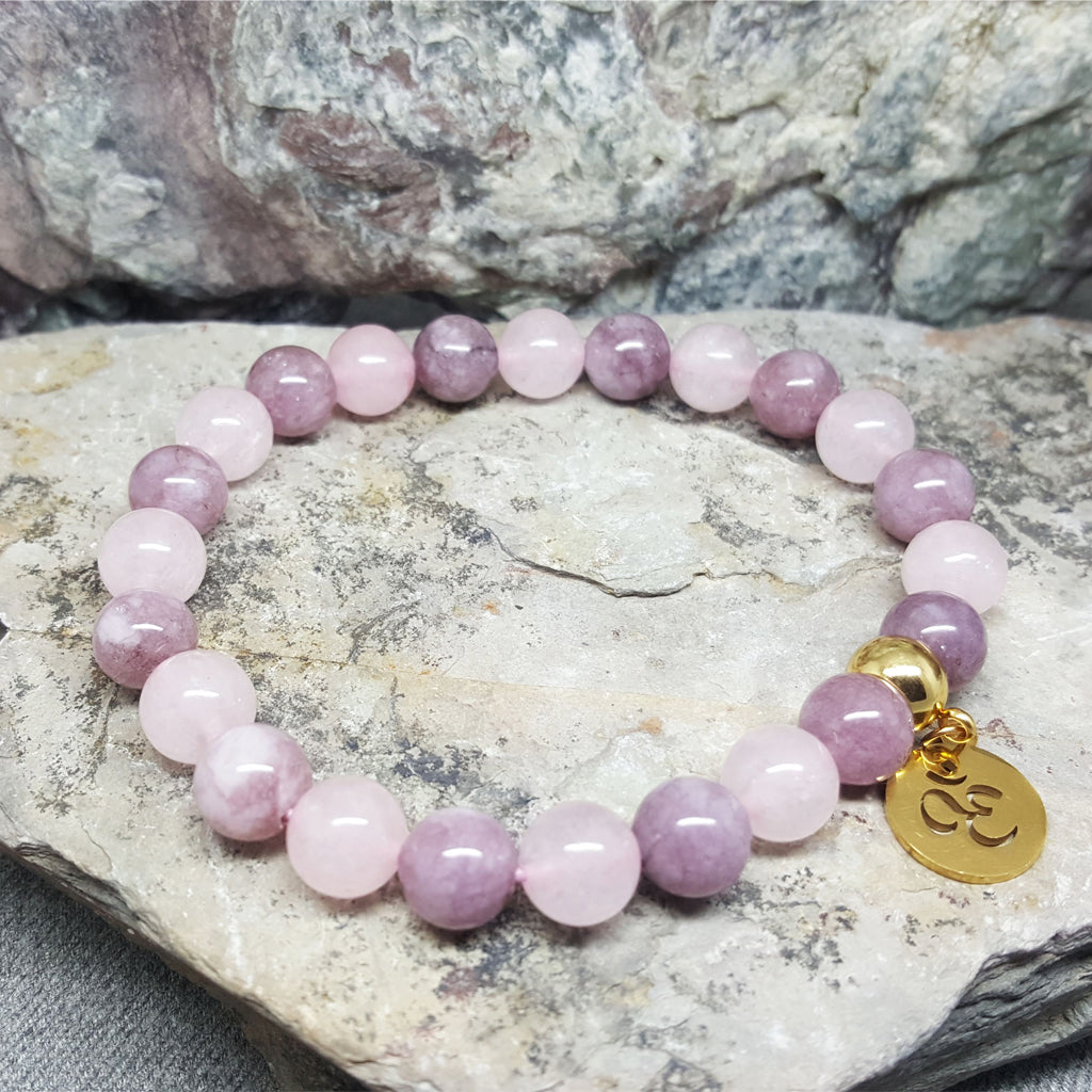 ANDINO ROSE QUARTZ AND ZIYUN OM BEAD BRACELET