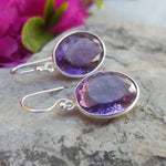 AMETHYST SILVER HOOK EARRINGS