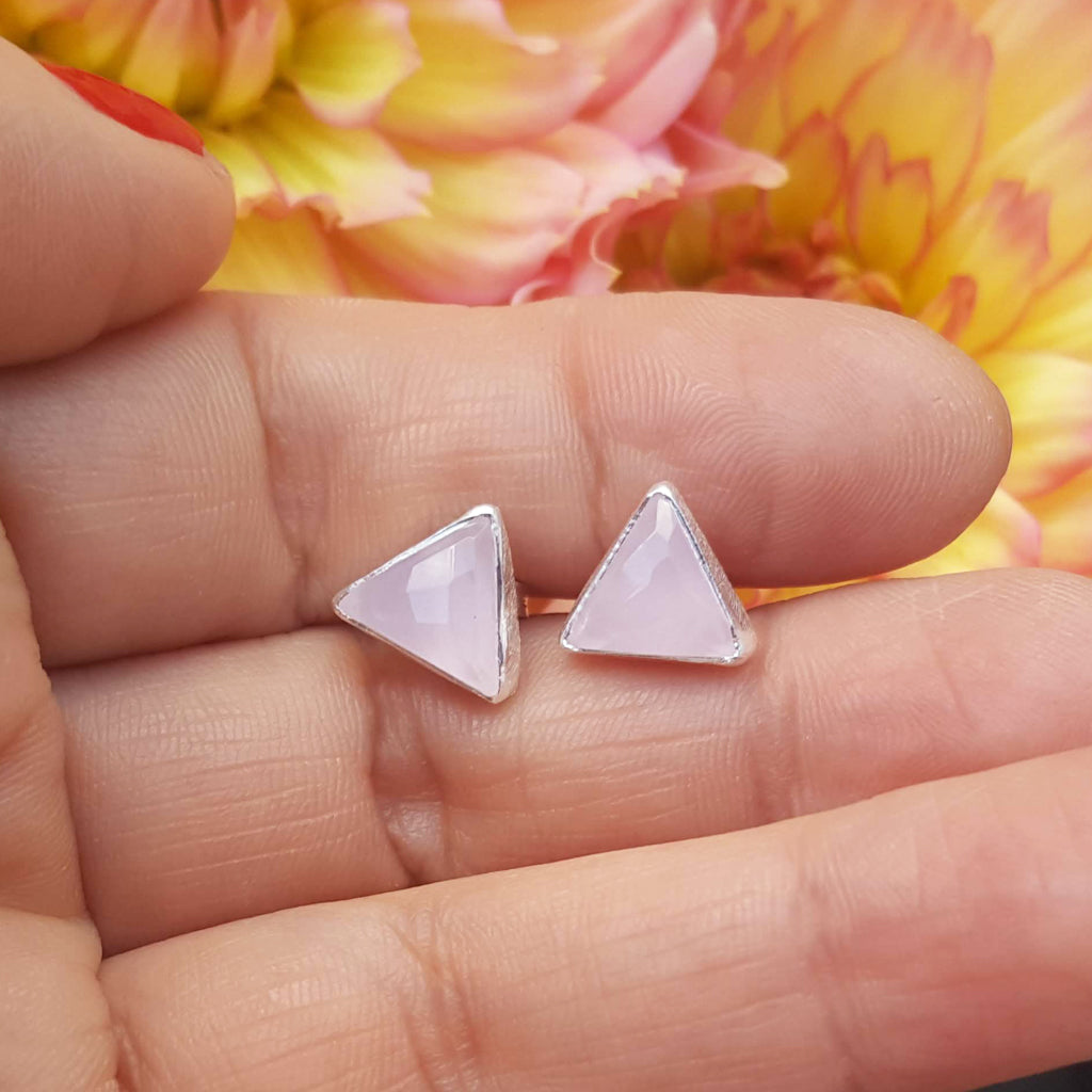 ARROW PINK CHALCEDONY SILVER STUD EARRINGS