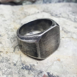 INDUSTRIAL ANTIQUE SQUARE SILVER RING