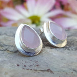 RAIN DROPS PINK CHALCEDONY SILVER STUD EARRINGS