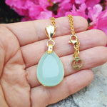 FREDA AQUA CHALCEDONY GOLD NECKLACE