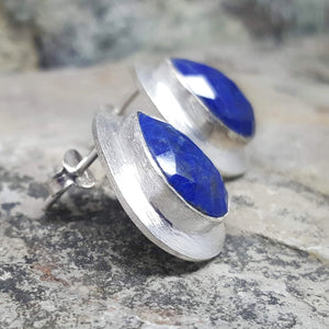 RAIN DROPS LAPIS LAZULI SILVER STUD EARRINGS