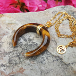 CRESCENT MOON NECKLACE TIGER EYE