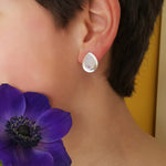 RAIN DROPS MOONSTONE SILVER STUD EARRINGS