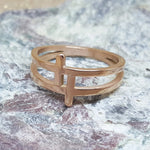 DOUBLE CROSS ROSE GOLD RING