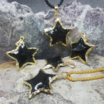 RAW BLACK TOURMALINE STAR NECKLACE