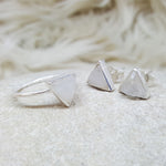 JEWELLERY SET. ARROW MOONSTONE SILVER RING PLUS STUD EARRINGS