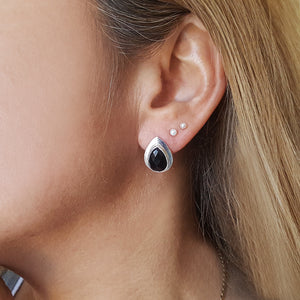 RAIN DROPS BLACK ONYX SILVER STUD EARRINGS