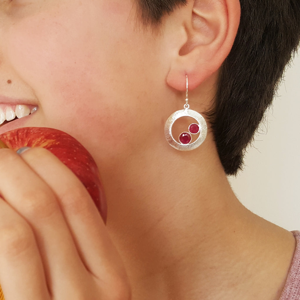 CHERRY RUBY SILVER EARRINGS