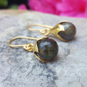 TULY LABRADORITE GOLD HOOK EARRINGS