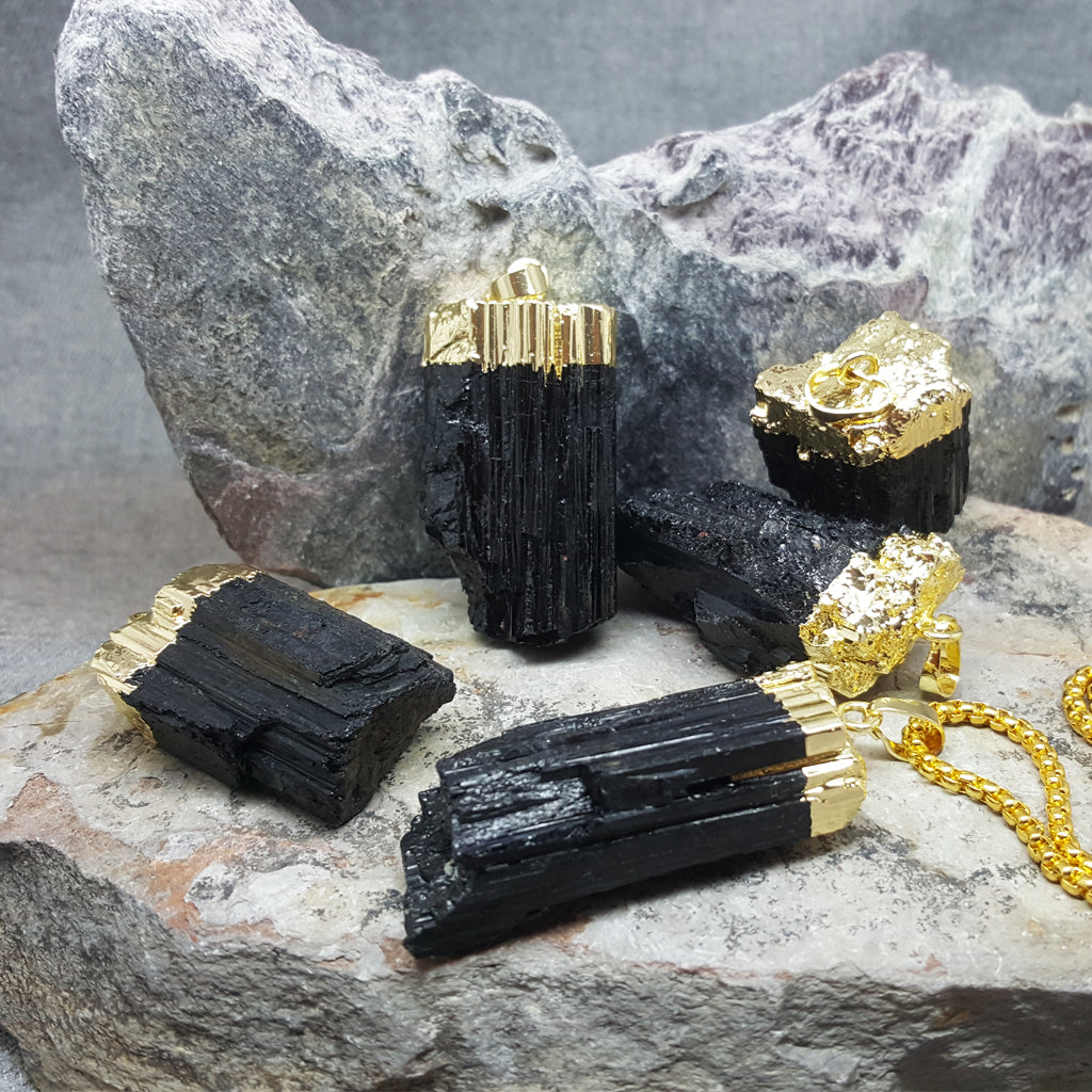 RAW BLACK TOURMALINE NECKLACE