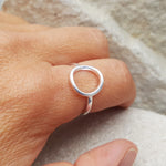 Bea Geo Circle Adjustable Silver Ring