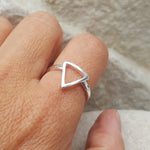 Bea Geo Triangle Adjustable Silver Ring