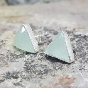 ARROW AQUA CHALCEDONY SILVER STUD EARRINGS