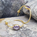 GOTA DE ORO AMETHYST GOLD HOOP EARRINGS