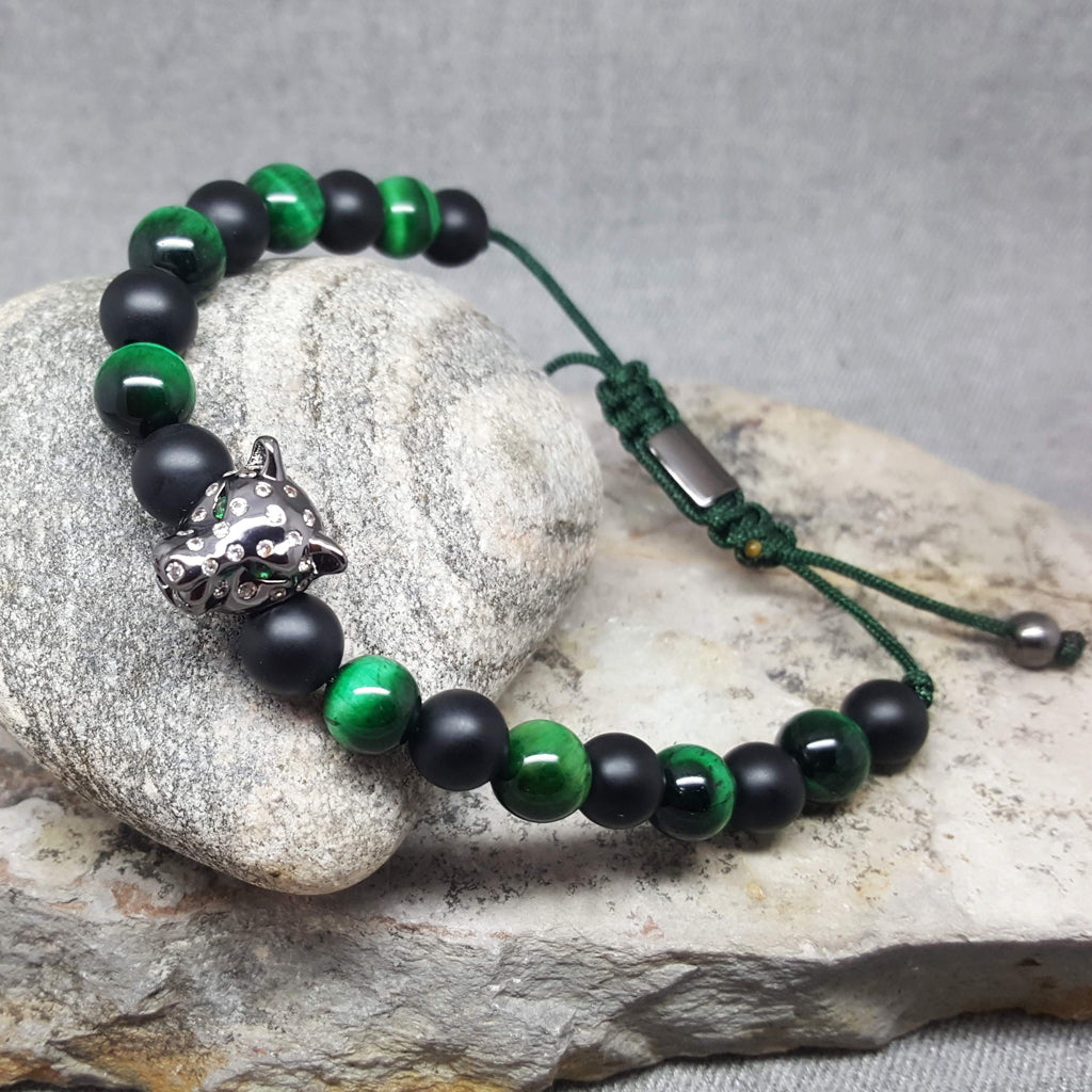 BLACK PANTHER SPIRIT GREEN ONYX BRACELET