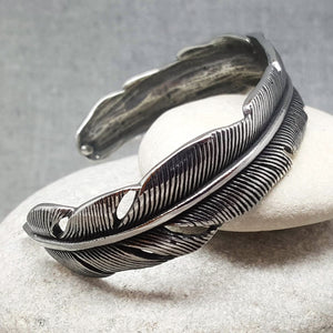 MAXI FEATHER STAINLESS STEEL BRACELET