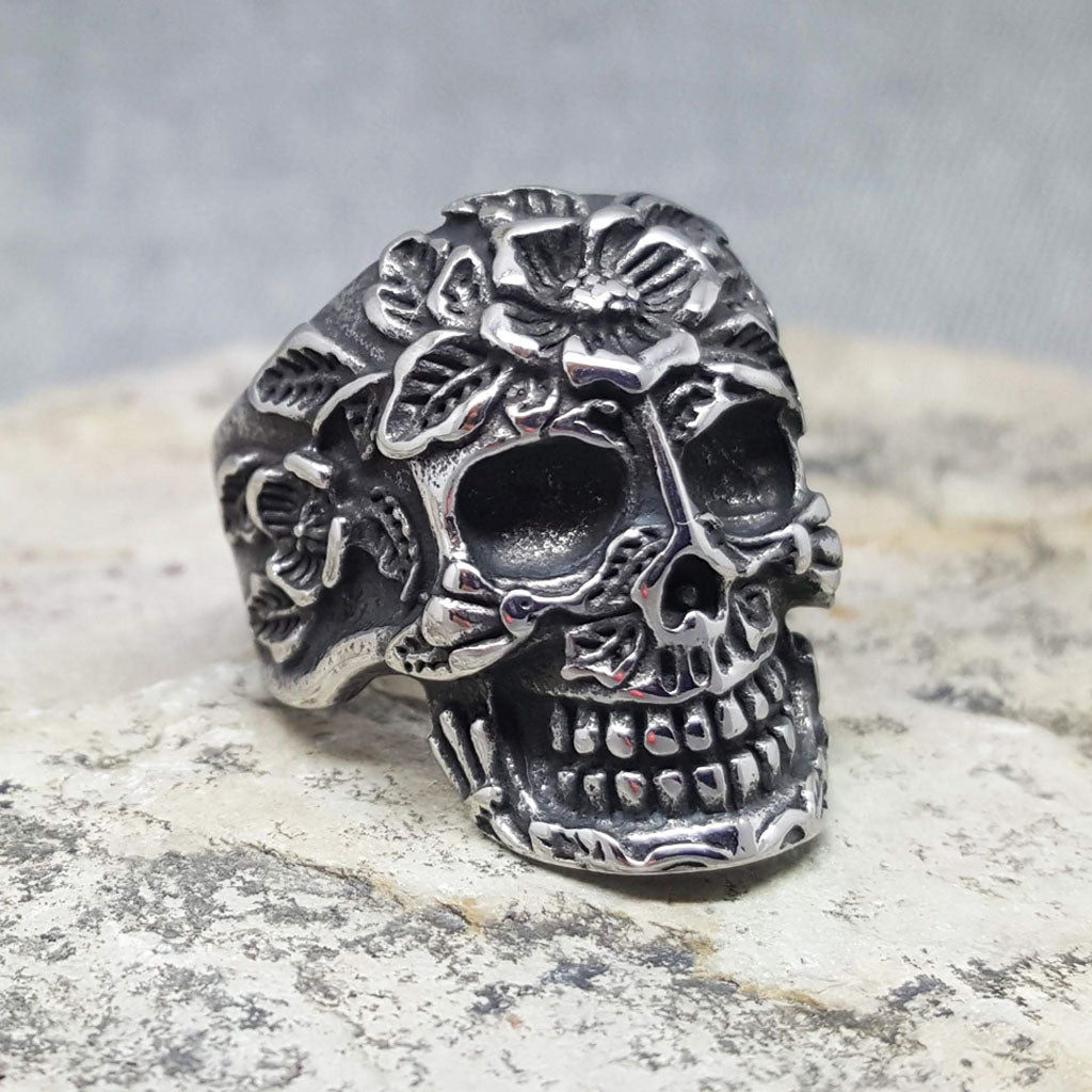 SKULL AND FLOWERS DEAD FLORIST SILVER RING