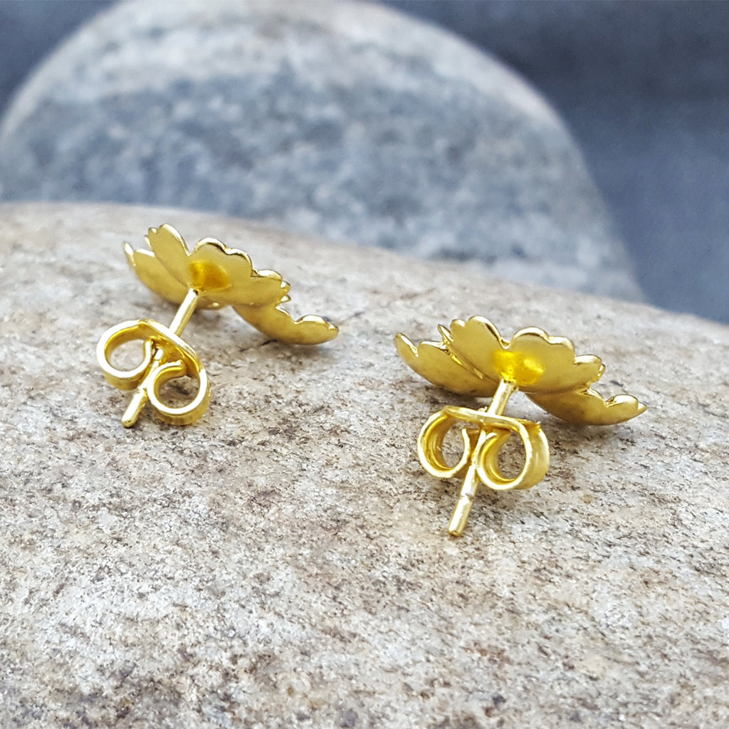 MARGARITA GOLD  LEAVES STUD EARRINGS