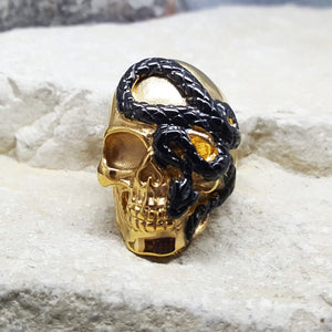 SNAKE SKULL GOLD AND BLACK RING