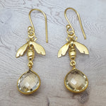 BEE CITRINE GOLD HOOK EARRINGS