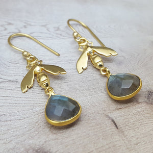 BEE LABRADORITE GOLD HOOK EARRINGS