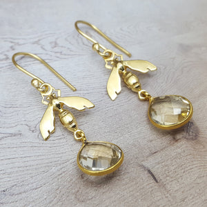 BEE CITRINE GOLD EARRINGS