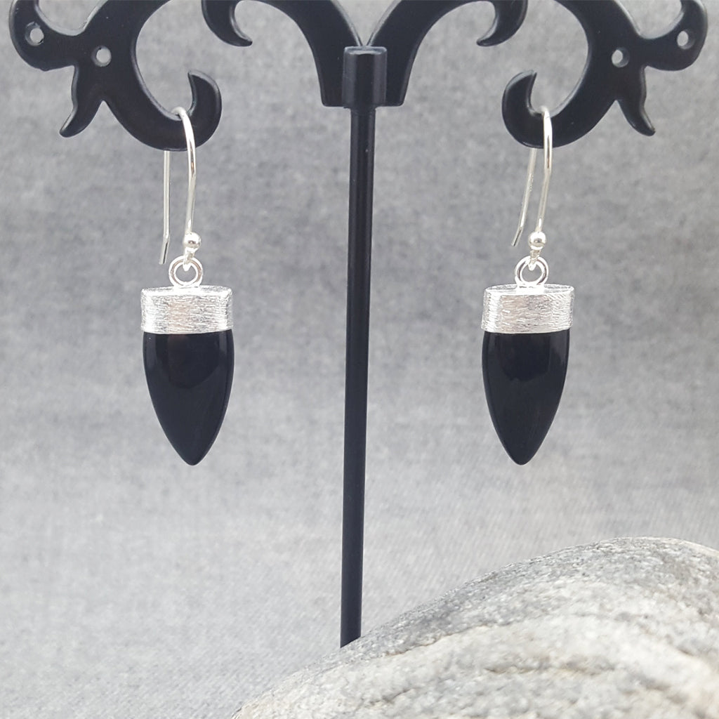 PETALS OF BLACK ONYX SILVER EARRINGS
