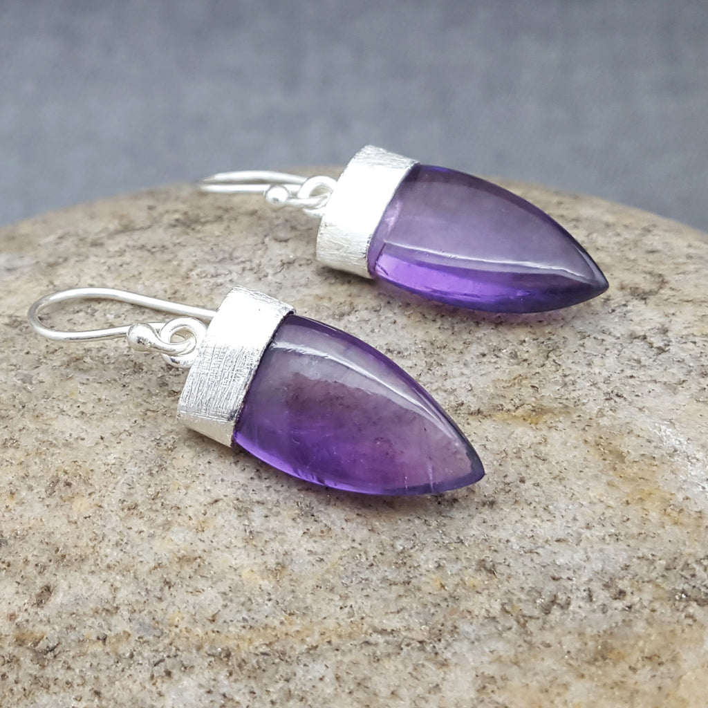 PETALS OF AMETHYST SILVER HOOK EARRINGS