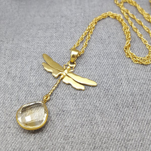 DRAGONFLY CITRINE GOLD NECKLACE