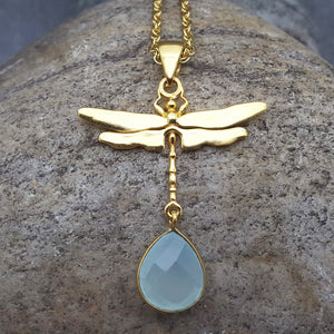 DRAGONFLY AQUA GOLD NECKLACE