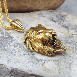 THE LION OF STEEL GOLD NECKLACE