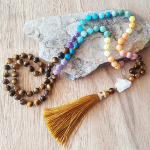 TIGER EYE 7 CHAKRAS MALA NECKLACE