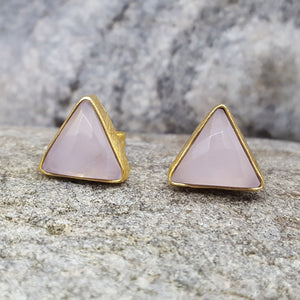 ARROW PINK CHALCEDONY GOLD EARRINGS
