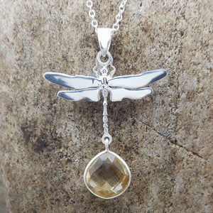 DRAGONFLY CITRINE SILVER NECKLACE