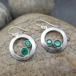 CHERRY GREEN ONYX SILVER EARRINGS