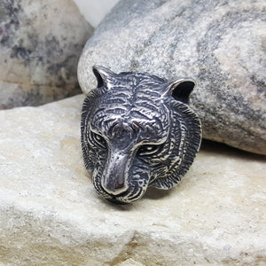 SILVER TIGER STEEL RING