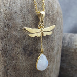 DRAGONFLY MOONSTONE GOLD NECKLACE