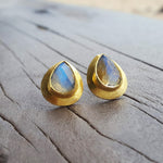 RAIN DROPS LABRADORITE STUD EARRINGS
