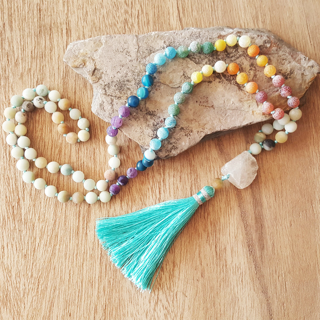 AMAZONITE 7 CHAKRAS MALA NECKLACE