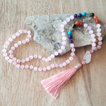 PINK QUARTZ 7 CHAKRAS MALA NECKLACE