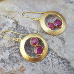 CHERRY RUBY GOLD EARRINGS