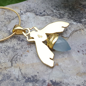 QUEEN BEE AQUA GOLD NECKLACE