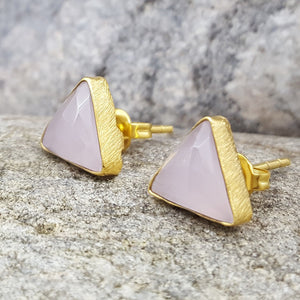 ARROW PINK CHALCEDONY GOLD STUD EARRINGS
