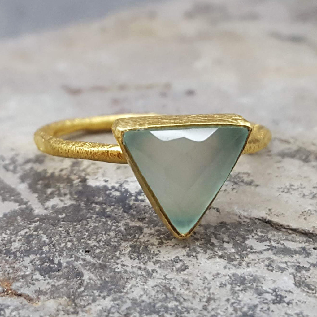 ARROW AQUA CHALCEDONY GOLD RING