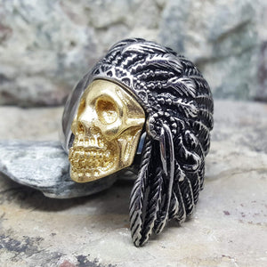 CHIEF INDIAN SKULL SILVER AND GOLD RING