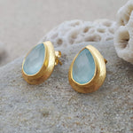 RAIN DROPS AQUA STUD EARRINGS