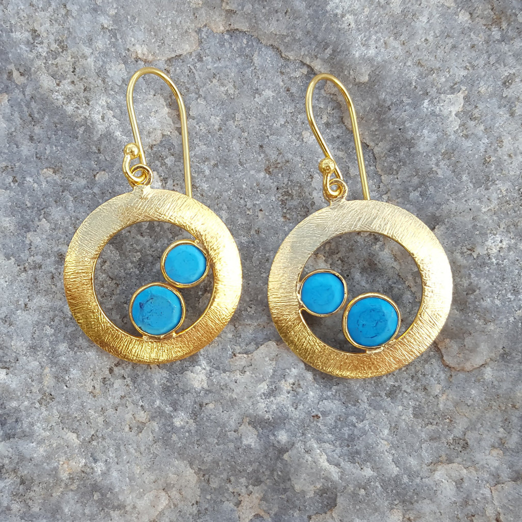 CHERRY TURQUOISE GOLD EARRINGS