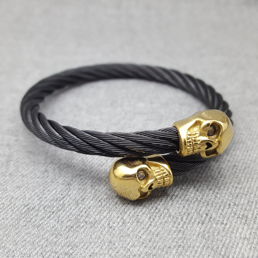 SKULLS TWINS GOLD AND BLACK BRACELET